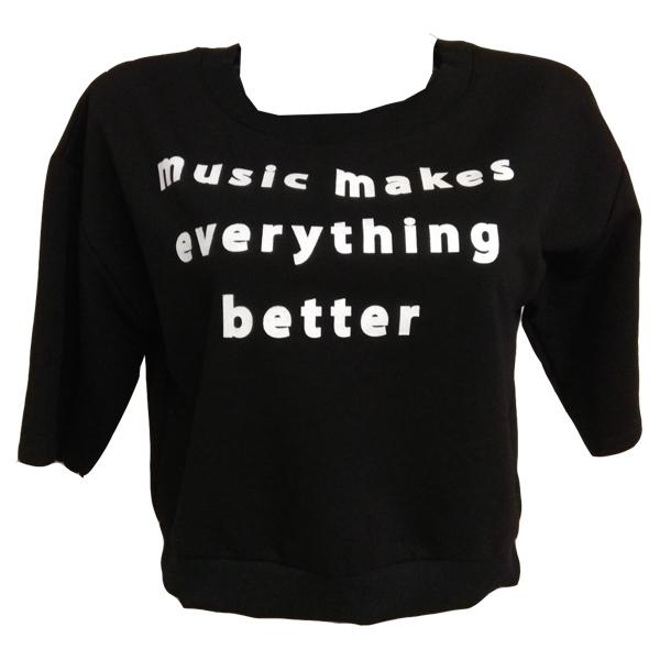 3564-PACO & CO ΜΠΛΟΥΖΑ ΓΥΝΑΙΚΕΙΑ MUSIC ΜΑΥΡΟ αρχική γυναικεία ρουχα μπλούζες φθινόπωρο   χειμώνας