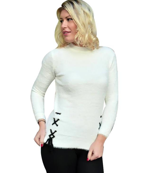 2890 Γυναικείο Πουλόβερ Με Κορδόνια (AW18) αρχική μπλούζες φθινόπωρο   χειμώνας