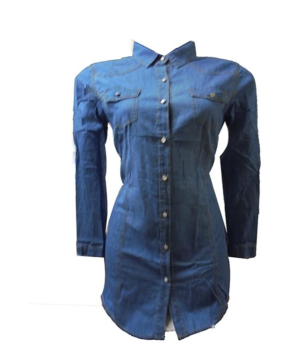 3901 Τζίν Πουκάμισο Γυναικείο αρχική μπλούζες άνοιξη   καλοκαίρι