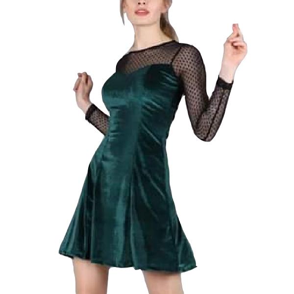 8514 MARKIZ ΦΟΡΕΜΑ ΒΕΛΟΥΤΕ ΠΡΑΣΙΝΟ αρχική ρουχισμός γυναικεία ρουχα φορέματα jumpsuits shorts