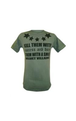 004-69 Velvet Villains Ανδρικό T-shirt Πετροπλυμένο Velvet Stars Πράσινο