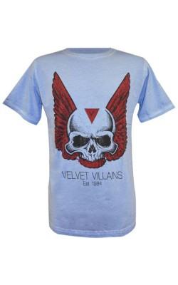 012-07 Velvet Villains Ανδρικό T-Shirt Πετροπλυμένο Skull Wings Γαλάζιο