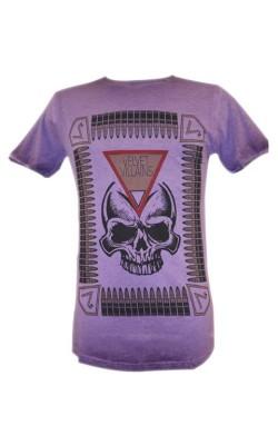 033-22 Velvet Villains Ανδρικό T-Shirt Πετροπλυμένο Skull Bullets Μωβ