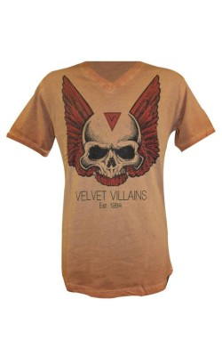 012-34 Velvet Villains Ανδρικό T-Shirt Πετροπλυμένο Skull Wings Πορτοκαλί